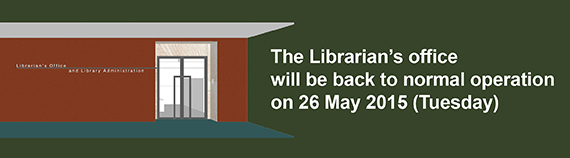 Librarian's Office back to normal on 26 May 2015