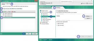 screen shots of software settings