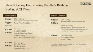 Library Opening Hours during Buddha's Birthday 19 May 2021