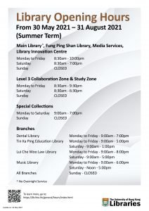 Library Opening HoursFrom 30 May 2021 – 31 August 2021  (Summer Term)