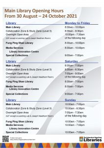 Main Library Hours first semester 2021