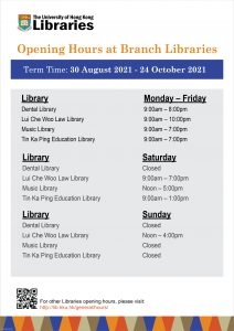 Branch Library Hours first semester 2021