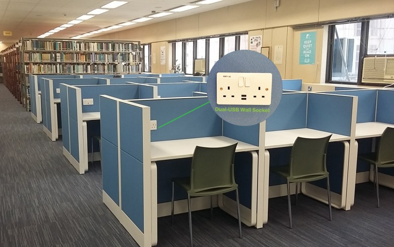 Study Carrels with USB Conenctions